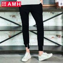 AMH男装韩版2017夏季新款修身青年潮流男士九分休闲裤