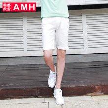 AMH男装韩版2017夏季新款青年纯棉白色修身休闲男士短裤