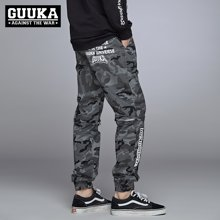 Guuka/古由卡迷彩束脚裤男潮牌可拆卸休闲裤小脚工装裤青少年学生个性收口潮裤X0707