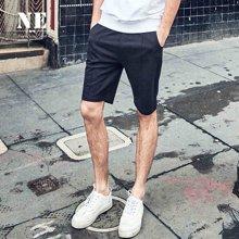 NE2017夏季中裤 修身男短裤夏天黑色五分裤 潮牌弹力运动卫裤F721618