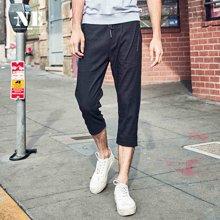 NE2017夏季新品松紧腰黑色修身小脚裤潮牌七分裤男士休闲裤F711625