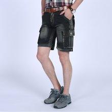 Guuka/古由卡水洗毛边夏装新款休闲裤男士多口袋工装短裤牛仔短裤五分裤潮BC-8818