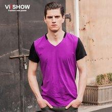 viishow男装 男士短袖T恤 撞色创意V领短T恤TD33842