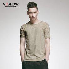 viishow 夏装 短袖T恤 男式圆领纯棉短袖T恤 欧美简约TD34852