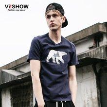 viishow新款夏装短袖T恤 欧美时尚内搭短袖男 图案印花T恤潮TD57462