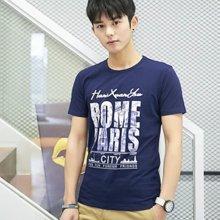 魔力怪车  春夏季男士Logo印花纯棉蓝色圆领短袖T恤E2278
