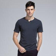 卓狼男装短袖T恤夏季新款圆领纯色韩版休闲短T男士修身中青年T6816