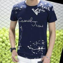 魔力怪车 韩版修身印花泼墨薄款青少年夏季男士圆领短袖t恤男装mlg520