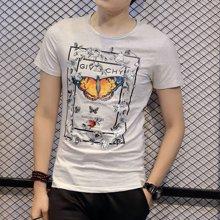 卓狼男装新款男士短袖t恤半截袖体恤3D立体浮雕个性男ZT1681