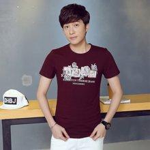 卓狼夏季新品休闲短袖圆领T恤韩版个性图案印花韩版男士T恤ZT1683