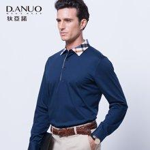 意大利狄亚诺秋季新款 商务休闲翻领纯色中年长袖t恤男士 111603