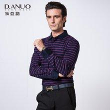 狄亚诺秋季新款 商务休闲男士条纹羊毛混纺长袖t恤 t恤男  211607