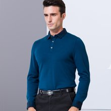 意大利狄亚诺 秋季新款纯色翻领商务休闲男士长袖t恤  211551