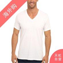 CalvinKlein男士短袖V领T恤 白色三件装L码(M4065-100-L)