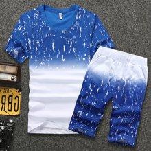 卓狼休闲套装夏季薄款短袖t恤男装韩版修身个性潮流五分短裤衣服一套TZ8817
