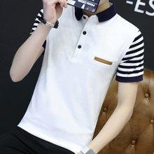 卓狼夏季短袖POLO衬男装商务休闲短袖T恤男装新款拼接袖男潮T1611