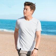千纸鹤男装2017夏男士纯色弹力t恤男短袖圆领上装青年修身T恤 HMTT02035