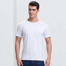 才子男装短袖T恤男 春夏季新品短袖男士白色圆领纯色修身纯棉打底衫半袖 8272E7422