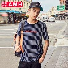 AMH韩版男装夏装2018新款潮流青年休闲套头条纹短袖T恤男PA8090燊