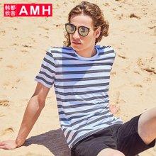 AMH男装韩版2018夏季新款青年色织条纹圆领男士短袖T恤男NZ8125琳