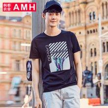 AMH韩版男装夏装2018新款潮流青年几何印花男士短袖T恤男QO8037琳