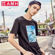 AMH男装韩版夏装2018新款潮流圆领印花休闲短袖t恤男OD8077夢