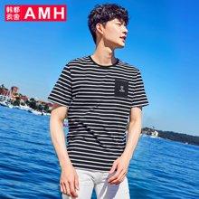 AMH韩版男装夏装2018新款潮流休闲青年时尚条纹短袖T恤男OJ8152燊