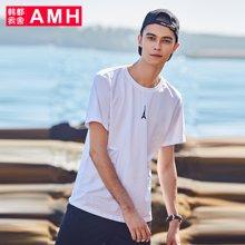 AMH韩版男装夏装2018新款潮流青年时尚刺绣套头短袖T恤男PA8102曦