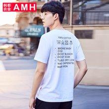 AMH韩版男装夏装2018新款青年学生时尚印花圆领短袖T恤男NX8333琎
