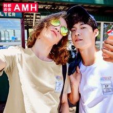 AMH韩版男装夏装2018新款潮流青年时尚贴布印花短袖T恤男NV7889璟