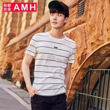 AMH韩版男装夏装2018新款潮流青年时尚条纹男士短袖T恤男NZ8138琳