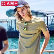 AMH韩版男装夏装2018新款潮流青年时尚套头短袖T恤男OD7996夢