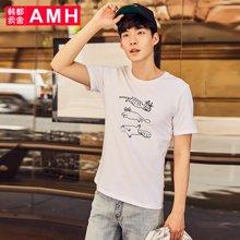 AMH韩版男装夏装2018新款潮流青年印花微弹圆领短袖T恤男OJ8124琳