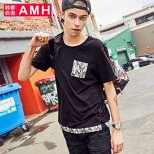 AMH韩版男装2018夏季新款青年学生迷彩图案男士短袖T恤男NZ8112琳
