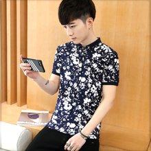 花花公子贵宾 2017夏季新款韩版修身短袖印花T恤polo衫571061BA909