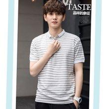 花花公子贵宾 2018夏季新款韩版男装翻领条纹短袖T恤polo衫