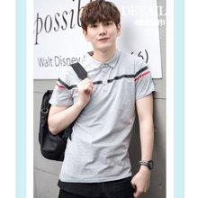 花花公子贵宾 2017夏季新款韩风翻领短袖条纹T恤男士POLO衫18A13A1759