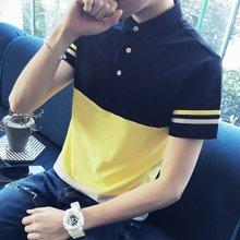 卓狼男士有领短袖t恤韩版修身拼接男装体恤青年翻领半袖薄款POLO衫潮P807TC