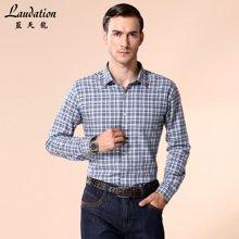 蓝天龙男士商务长袖格子衬衫 男款男士秋装修身衬衣8900