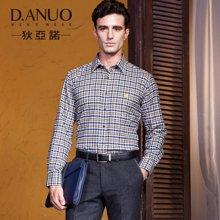 狄亚诺秋装 中年商务休闲男士夹棉保暖长袖衬衫 磨毛纯棉格子(246232)