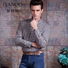 狄亚诺 秋装新品商务休闲男士格子夹棉加厚长袖衬衫 格纹保暖中年(246398)