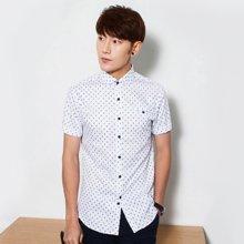 卓狼夏季成熟短袖衬衫男青年男装修身英伦韩版休闲男士衬衣ZC1251