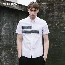 VIISHOW夏季男士短袖衬衫时尚半袖纯色上衣 男装寸衫男青少年衬衣CD69362