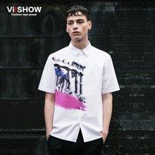 viishow夏装短袖衬衫 欧美时尚白色短袖衬衫男 印花衬衣CD68962
