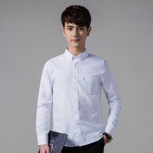 卓狼春季新款男士纯棉长袖衬衫韩版潮男装修身型青年休闲衬衣寸衫C1358