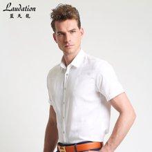 蓝天龙夏季男士短袖衬衫 白色薄款纯棉格子衬衣8785