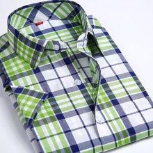魔力怪车 韩版修身休闲夏天男士格子短袖衬衣夏季薄款格子短袖衬衫男装ml9150