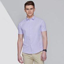卓狼夏男士纯色短袖衬衫男商务正装韩版修身职业工装衬衣C601