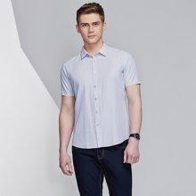 卓狼夏季男士绅士细条纹短袖衬衫男商务上班衬衣C605