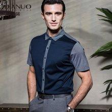 意大利狄亚诺夏季新款商务休闲纯棉翻领中年短袖衬衫男士  127418